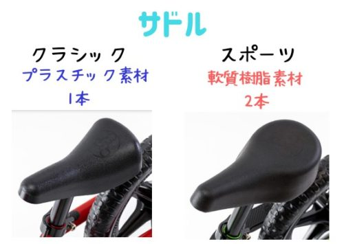 ストライダースポーツモデルとクラシックモデルのサドル比較